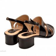 Sandale negre dama din piele naturala toc 5 cm cod S51BOX