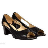 Sandale negri dama din piele naturala toc 5 cm cod S303