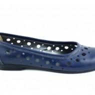 Balerini de vara dama bleumarin din piele naturala cod B28