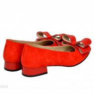 Balerini rosii velur dama din piele naturala cod B38
