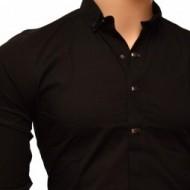 Camasa Neagra Slim Fit cu capse si nasturi ascunsi Casual - Eleganta ZR61