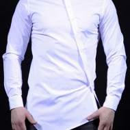 Camasa Slim Fit Alba Fashion - Camasa alba cambrata bumbac ZR35