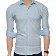 Camasa Slim Fit bleu casual-eleganta - Camasa bleu barbati ZR64