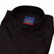 Camasa Slim Fit neagra stil tunica - Camasa neagra barbati fara guler ZR83