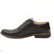 Pantofi barbati piele naturala negri casual-eleganti cu siret cod P22