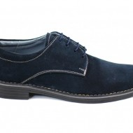 Pantofi barbati piele naturala velur bleumarin casual-eleganti cu siret cod P25BL