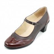 Pantofi dama eleganti din piele naturala maro cu toc de 5 cm cod P118M