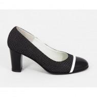 Pantofi dama eleganti din piele naturala negri cu buline cod P315