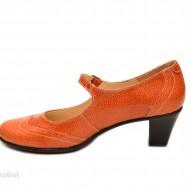 Pantofi dama eleganti din piele naturala orange cu toc de 5 cm cod P106ORG