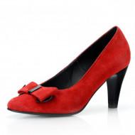Pantofi dama eleganti din piele naturala rosii velur cod P300
