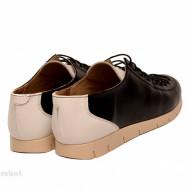 Pantofi dama negri cu alb din piele naturala cod P185