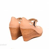 Pantofi dama piele naturala bej cu platforma cod P166BEJ