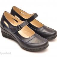 Pantofi dama piele naturala bleumarin cu platforma cod P57 - Made in Romania