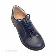 Pantofi dama piele naturala bleumarin cu siret cod P92BLM - LICHIDARE STOC 35