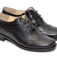 Pantofi dama piele naturala negri cu siret cod P21N - LICHIDARE STOC 37, 38