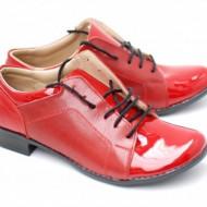 Pantofi dama piele naturala rosii cu siret cod P91 - LICHIDARE STOC 40