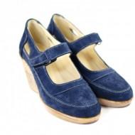Pantofi dama piele naturala velur bleumarin cu platforma cod P74BLVEL - Made in Romania