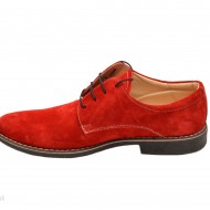 Pantofi rosii barbati piele naturala velur casual-office - cod P73