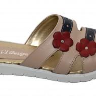 Papuci dama piele naturala crem cu floricele cod PP12