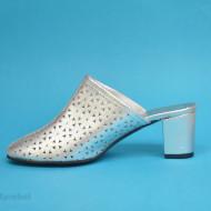 Saboti argintii dama eleganti din piele naturala cod SB301AR- Editie de LUX