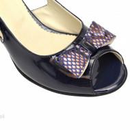 Sandale bleumarin dama din piele naturala lacuita toc 5 cm cod S306
