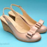 Sandale dama bej piele naturala cu funda cod S39