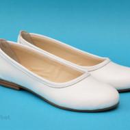 Balerini albi dama din piele naturala cod B35