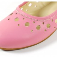 Balerini de vara dama roz din piele naturala cod B26