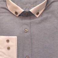 Camasa Slim Fit eleganta barbati albastra cu guler si mansete albe - Camasa barbati (bumbac) ZR48