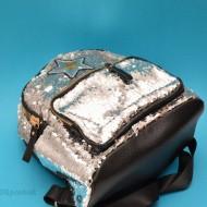 Geanta sport cu paiete de dama - Rucsac cu paiete argintiu dama cod 1806AR