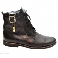 Ghete barbati piele naturala Negre casual-elegante cu siret cod G24