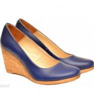 Pantofi albastri dama eleganti - casual din piele naturala cod P133