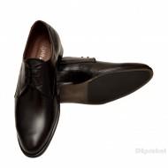 Pantofi barbatesti negri lucrati manual piele naturala cod P154N - Editie de LUX