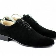 Pantofi barbati piele naturala velur negri casual-eleganti cod P65NV - Editie de LUX