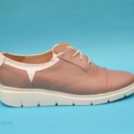 Pantofi dama crem cu alb casual-eleganti din piele naturala cod P141, model Selena