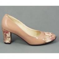 Pantofi dama eleganti din piele naturala bej lacuiti cod P329