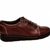 Pantofi dama grena cu siret din piele naturala cod P183GR