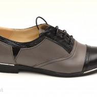 Pantofi dama piele naturala cu siret cod P50G - Made in Romania