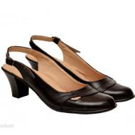 Pantofi dama piele naturala negri cu bareta cod P155 - LICHIDARE STOC 37, 38