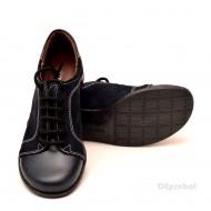 Pantofi dama piele naturala negri cu siret cod P95N