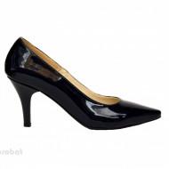 Pantofi stiletto negri lacuiti dama eleganti din piele naturala cod P332N