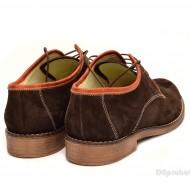 Pantofi barbati piele naturala velur maro casual-eleganti cu siret cod P112