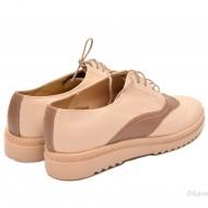 Pantofi dama bej casual-eleganti din piele naturala cod P53
