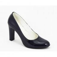 Pantofi dama bleumarin eleganti din piele naturala lacuita cu toc de 9 cm cod P335