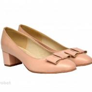 Pantofi dama eleganti cu toc imbracat din piele naturala bej cod P355