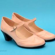 Pantofi dama eleganti din piele naturala bej cu toc de 5 cm cod P118BEJ