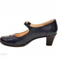 Pantofi dama eleganti din piele naturala bleumarin cu toc de 5 cm cod P106BL
