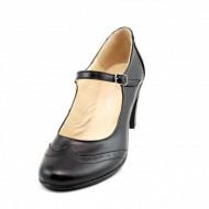Pantofi dama eleganti din piele naturala negri cu toc de 7 cm cod P117N