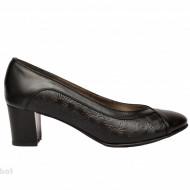 Pantofi dama negri cu toc aplicat din piele naturala cod P352