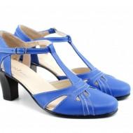 Pantofi dama piele naturala albastri cu bareta cod P126 - Made in Romania
